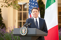 Washington DC, October 18, 2016, USA:  Prime Minister Matteo Renzi of Italy answerquestions during a   joint news conference, with President Barack Obama in the White House Rose Garden.  Patsy Lynch/MediaPunch