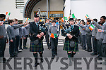 CBS The Green Proclamation Day celebrations on Tuesday. Student Tadhg Horigan was given a Escort by Members of the Tralee Pipes and Drums band Johnny Sheehan and Leanne McCarthy