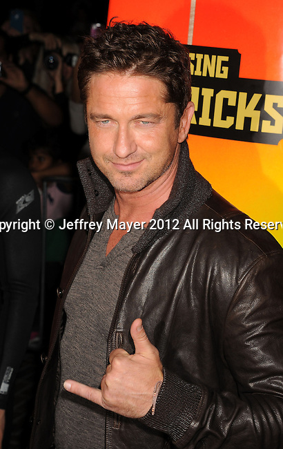 LOS ANGELES, CA - OCTOBER 18: Gerard Butler arrives at the 'Chasing Mavericks' - Los Angeles Premiere at Pacific Theaters at the Grove on October 18, 2012 in Los Angeles, California.