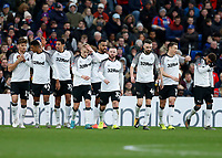 5th January 2020; Selhurst Park, London, England; English FA Cup Football, Crystal Palace versus Derby County; Wayne Rooney of Derby County celebrates their goal with his team mates - Strictly Editorial Use Only. No use with unauthorized audio, video, data, fixture lists, club/league logos or 'live' services. Online in-match use limited to 120 images, no video emulation. No use in betting, games or single club/league/player publications