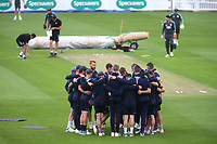 Kent players form a huddle ahead of the start of play during Surrey CCC vs Kent CCC, Specsavers County Championship Division 1 Cricket at the Kia Oval on 7th July 2019