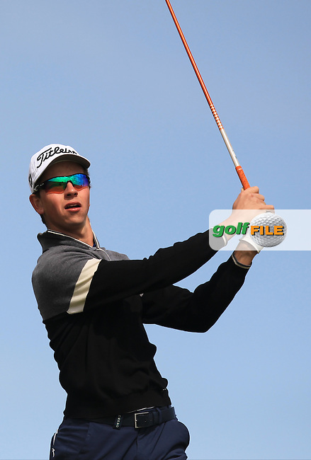 Loris Schuepbach (SWI) on the 14th tee during Round 1 of the Flogas Irish Amateur Open Championship at Royal Dublin on Thursday 5th May 2016.<br /> Picture:  Thos Caffrey / www.golffile.ie