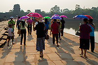 Tourists gathering during Sunrise at Angkor Wat, Cambodia