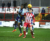 Marcus Bean of Wycombe Wanderers beats Shay McCartan of Accrington Stanley to the ball <br /> during the Sky Bet League 2 match between Accrington Stanley and Wycombe Wanderers at the wham stadium, Accrington, England on 28 February 2017. Photo by Tony  KIPAX.