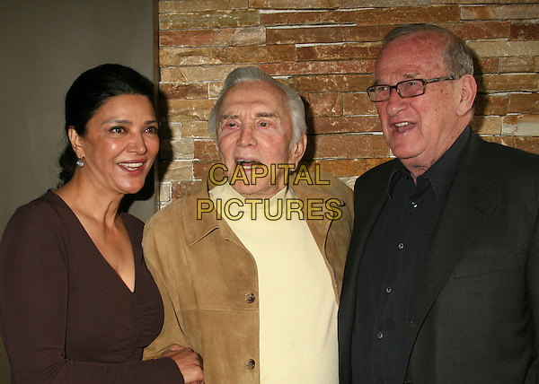 SHOHREH AGHDASHLOO, KIRK DOUGLAS & LARRY GELBART.PEN USA and WordTheatre's 2007 Benefit Brunch at Aphrodisiac Restaurant, Los Angeles, California, USA..May 20th, 2007.half length brown jacket black glasses top.CAP/ADM/BP.©Byron Purvis/AdMedia/Capital Pictures