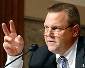 """Washington, D.C. - September 23, 2008 -- United States Senator Jon Tester (Democrat of Montana) listens to testimony during the United States Senate Committee on Banking, Housing and Urban Affairs hearing on """"Turmoil in US Credit Markets: Recent Actions Regarding Government Sponsored Entities, Investment Banks and Other Financial Institutions"""" in Washington, D.C. on Tuesday, September 23, 2008.  The hearing focused on the United States Government's proposed 700 billion U.S. dollar bail-out of the banking system caused by poor lending practices of U.S. banks.<br /> Credit: Ron Sachs / CNP"""