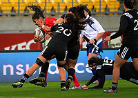 Magali Harvey is tackled during the 2017 International Women's Rugby Series rugby match between the NZ Black Ferns and Canada at Westpac Stadium in Wellington, New Zealand on Friday, 9 June 2017. Photo: Dave Lintott / lintottphoto.co.nz