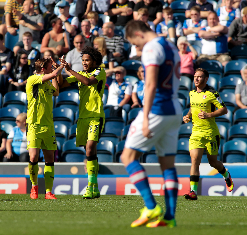 Rotherham United celebrate going 1-0 ahead thanks to Danny Ward<br /> <br /> Photographer David Shipman/CameraSport<br /> <br /> The EFL Sky Bet Championship - Blackburn Rovers v Rotherham United - Saturday 17 September 2016 - Ewood Park - Blackburn<br /> <br /> World Copyright &copy; 2016 CameraSport. All rights reserved. 43 Linden Ave. Countesthorpe. Leicester. England. LE8 5PG - Tel: +44 (0) 116 277 4147 - admin@camerasport.com - www.camerasport.com