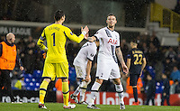 Goalkeeper Hugo Lloris of Tottenham Hotspur and Toby Alderweireld of Tottenham Hotspur shake hands after a clean sheet  during the UEFA Europa League group match between Tottenham Hotspur and Monaco at White Hart Lane, London, England on 10 December 2015. Photo by Andy Rowland.