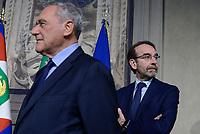 Roma, 4 Aprile 2018<br /> Pietro Grasso, Riccardo Nencini.<br /> Primo giorno di Consultazioni per la formazione del Governo