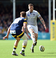 Matt Banahan of Bath Rugby puts in a grubber kick. Aviva Premiership match, between Worcester Warriors and Bath Rugby on April 15, 2017 at Sixways Stadium in Worcester, England. Photo by: Patrick Khachfe / Onside Images
