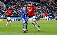 Leicester City's James Maddison battles with  Manchester United's Nemanja Matic<br /> <br /> Photographer Hannah Fountain/CameraSport<br /> <br /> The Premier League - Leicester City v Manchester United - Sunday 3rd February 2019 - King Power Stadium - Leicester<br /> <br /> World Copyright © 2019 CameraSport. All rights reserved. 43 Linden Ave. Countesthorpe. Leicester. England. LE8 5PG - Tel: +44 (0) 116 277 4147 - admin@camerasport.com - www.camerasport.com