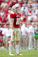 September 04, 2010:    Florida State Seminoles kicker Dustin Hopkins (18) looks up at his kick during first half action between the Florida State Seminoles and the Samford Bulldogs at Doak Campbell Stadium in Tallahassee, Florida. Florida State defeated Samford 59-6.
