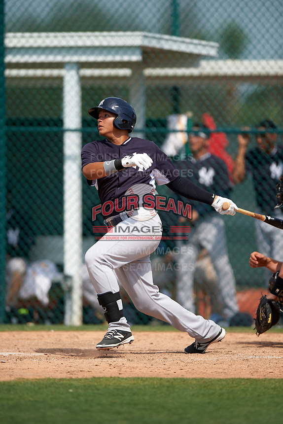 New York Yankees Nelson Gomez (40) during a minor league Spring Training game against the Pittsburgh Pirates on March 26, 2016 at Pirate City in Bradenton, Florida.  (Mike Janes/Four Seam Images)