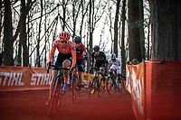 Inge Van der Heijden (NED/CCC-Liv) leading the pack in the first round<br /> <br /> <br /> Elite Womens Race <br /> UCI Cyclocross Worldcup – Hoogerheide (Netherlands)<br /> ©kramon