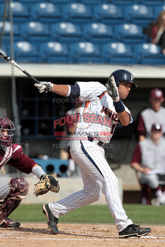 Austin Davidson #10 of the Pepperdine Waves bats against the Texas A&M Aggies at Eddy D. Field Stadium on March 23, 2012 in Malibu,California. Texas A&M defeated Pepperdine 4-0.(Larry Goren/Four Seam Images)
