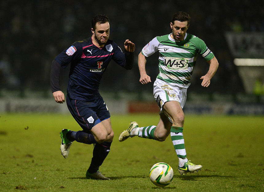 Preston North End's Chris Beardsley bursts past Yeovil Town's Jamie McAllister ..Football - npower Football League Division One - Yeovil Town v Preston North End - Tuesday 12 th 2013 - Huish Park - Yeovil..© CameraSport - 43 Linden Ave. Countesthorpe. Leicester. England. LE8 5PG - Tel: +44 (0) 116 277 4147 - admin@camerasport.com - www.camerasport.com