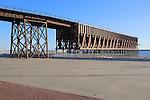 El Cable Inglés raised railway line, Almeria city, Spain built 1902-1904 for iron ore export