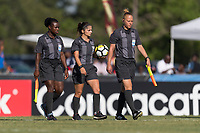 Bradenton, FL - Sunday, June 10, 2018: Referees during a U-17 Women's Championship match between the United States and Haiti at IMG Academy.  USA defeated Haiti 3-2 to advance to the finals.