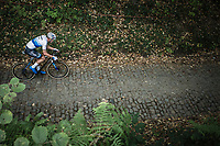 European Champion Mathieu Van der Poel (NED/Corendon Circus) riding the cobbles of the Koppenberg.<br /> <br /> Koppenbergcross Belgium 2018