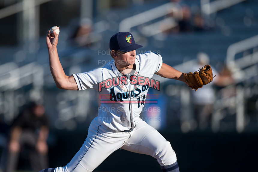 Everett AquaSox relief pitcher Nolan Hoffman (14) delivers a pitch during a Northwest League game against the Tri-City Dust Devils at Everett Memorial Stadium on September 3, 2018 in Everett, Washington. The Everett AquaSox defeated the Tri-City Dust Devils by a score of 8-3. (Zachary Lucy/Four Seam Images)