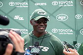 New York Jets head coach Todd Bowles meets reporters after his team participated in a joint training camp practice with the Washington Redskins at the Washington Redskins Bon Secours Training Facility in Richmond, Virginia on Tuesday, August 14, 2018.<br /> Credit: Ron Sachs / CNP<br /> (RESTRICTION: NO New York or New Jersey Newspapers or newspapers within a 75 mile radius of New York City)
