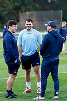Lewis Wynne of London Scottish with Matt Gordon and Billy Harding during the Championship Cup match between London Scottish Football Club and Yorkshire Carnegie at Richmond Athletic Ground, Richmond, United Kingdom on 4 October 2019. Photo by Carlton Myrie / PRiME Media Images