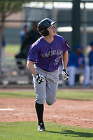 Colorado Rockies left fielder Brett Stephens (27) during a Minor League Spring Training game against the Chicago Cubs at Sloan Park on March 27, 2018 in Mesa, Arizona. (Zachary Lucy/Four Seam Images)
