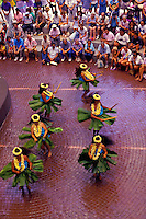 Spectators watch lei-clad Molokai hula dancers twirl their ti-leaf skirts during a performance at Ward Warehouse in Honolulu.