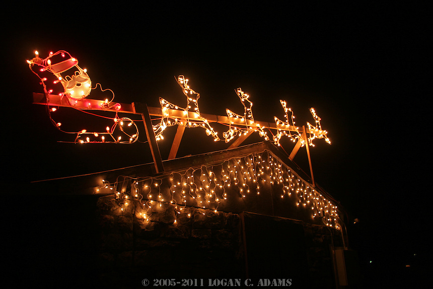 Pictures of the some of the Christmas lights in Council Grove, including downtown.