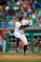 Indianapolis Indians third baseman Kevin Kramer (17) at bat during a game against the Rochester Red Wings on July 24, 2018 at Victory Field in Indianapolis, Indiana.  Rochester defeated Indianapolis 2-0.  (Mike Janes/Four Seam Images)