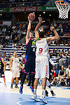 Movistar Estudiantes's Vladimir Stimac and Laboral Kutxa's Ioannis Bourousis during Liga Endesa ACB at Barclays Center in Madrid, October 11, 2015.<br /> (ALTERPHOTOS/BorjaB.Hojas)