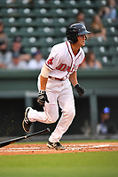Second baseman Jagger Rusconi (48) of Greenville Drive runs toward first in a game against the Asheville Tourists on Wednesday, May 3, 2017, at Fluor Field at the West End in Greenville, South Carolina. Greenville won, 8-0. (Tom Priddy/Four Seam Images)