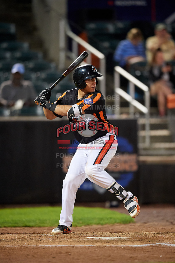 Aberdeen IronBirds catcher Alfredo Gonzalez (19) at bat during a game against the Staten Island Yankees on August 23, 2018 at Leidos Field at Ripken Stadium in Aberdeen, Maryland.  Aberdeen defeated Staten Island 6-2.  (Mike Janes/Four Seam Images)