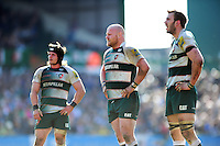 Harry Thacker, Dan Cole and Tom Croft of Leicester Tigers look on. Aviva Premiership match, between Leicester Tigers and Gloucester Rugby on April 2, 2016 at Welford Road in Leicester, England. Photo by: Patrick Khachfe / JMP