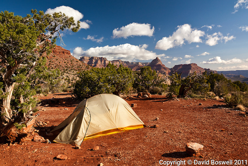 Camp in the early morning on Horseshoe Mesa on the Grandview Trail below the South Rim of the Grand Canyon.