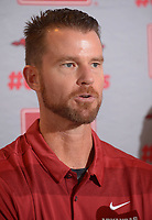 NWA Democrat-Gazette/ANDY SHUPE<br /> Newly hired Arkansas pitching coach Matt Hobbs speaks Wednesday, Nov. 28, 2018, during a press conference to announce his hire at Baum Stadium in Fayetteville.