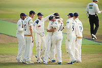 Picture by Allan McKenzie/SWpix.com - 11/09/2014 - Cricket - LV County Championship Div One - Nottinghamshire County Cricket Club v Yorkshire County Cricket Club - Trent Bridge, West Bridgford, England County Cricket Club - Yorkshire's Jack Brooks is congratulated on dismissing Nottinghamshire's Alex Hales.