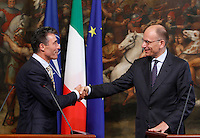 Il Presidente del Consiglio Enrico Letta stringe la mano al Segretario Generale della Nato Anders Fogh Rasmussen, al termine della conferenza stampa congiunta a Palazzo Chigi, Roma, 25 luglio 2013.<br /> Italian Premier Enrico Letta shakes hands with NATO's Secretary General Anders Fogh Rasmussen, left, at the end of a joint press conference at Chigi Palace, Rome, 25 July 2013.<br /> UPDATE IMAGES PRESS/Isabella Bonotto