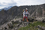 backpacker, Tyndall Gorge, Flattop Mountain, Rocky Mountain National Park, Colorado, USA