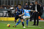 Lautaro Martinez of Inter takes on Giovanni Di Lorenzo of Napoli during the Coppa Italia match at Giuseppe Meazza, Milan. Picture date: 12th February 2020. Picture credit should read: Jonathan Moscrop/Sportimage