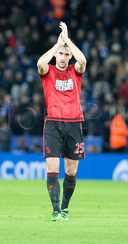 01.03.2016. King Power Stadium, Leicester, England. Barclays Premier League. Leicester versus West Bromwich Albion West Bromwich Albion defender Craig Dawson thanks their supporters at the end of the match