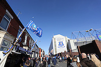 Pictured: Goodison Road outside the stadium. Sunday 16 February 2014<br /> Re: FA Cup, Everton v Swansea City FC at Goodison Park, Liverpool, UK.