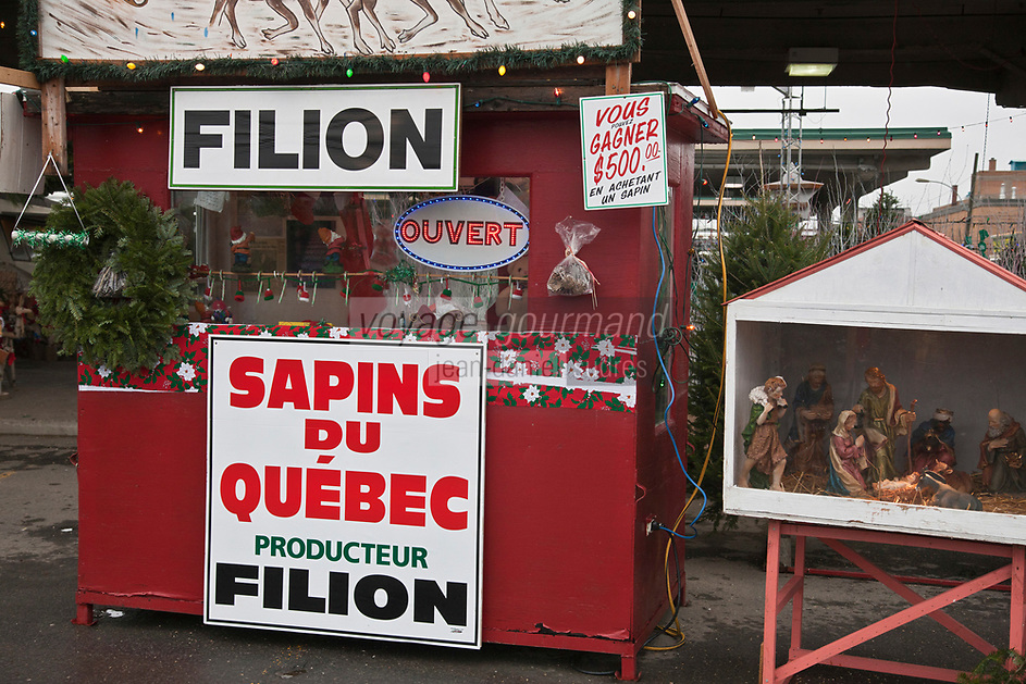 Amérique/Amérique du Nord/Canada/Québec/Montréal: Enseignes de marchands de sapin de Noël au Marché Jean Talon