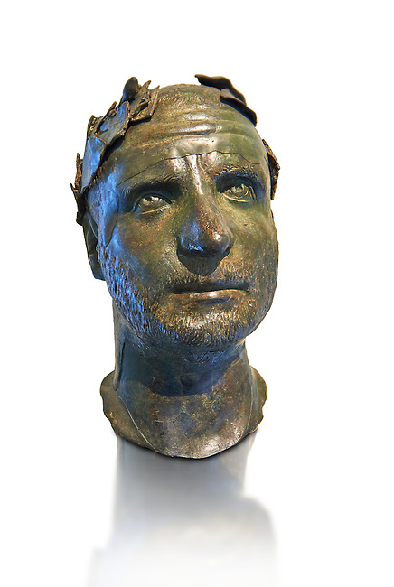 Bronze head of possibly Trebonianus Gallus, 251-253 A.D., inv 15032, Vatican Museum Rome, Italy, white background