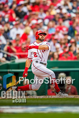 3 April 2017: Washington Nationals outfielder Adam Eaton in action on Opening Day against the Miami Marlins at Nationals Park in Washington, DC. The Nationals defeated the Marlins 4-2 to open the 2017 MLB Season. Mandatory Credit: Ed Wolfstein Photo *** RAW (NEF) Image File Available ***
