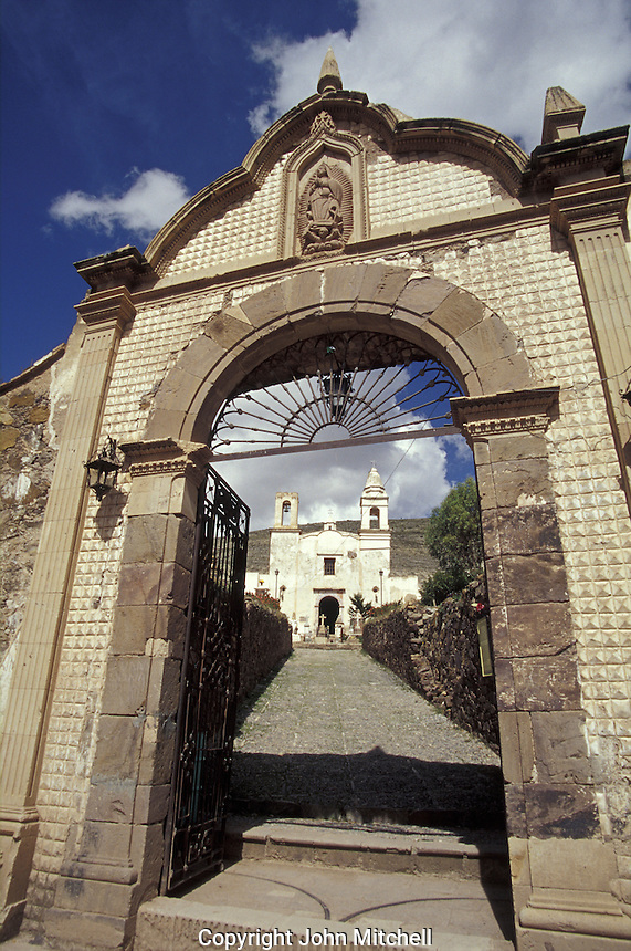 Entrance to the Camposanto cemetery and Templo de Guadalupe church in the 19th-century silver-mining town of Real de Catorce, San Luis Potosi state, Mexico. Real de Catorce became a virtual ghost town during the early part of the 20th century. It has recently become a popuar destination for travellers.