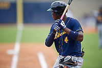 Montgomery Biscuits Jesus Sanchez (4) at bat during a Southern League game against the Biloxi Shuckers on May 8, 2019 at MGM Park in Biloxi, Mississippi.  Biloxi defeated Montgomery 4-2.  (Mike Janes/Four Seam Images)