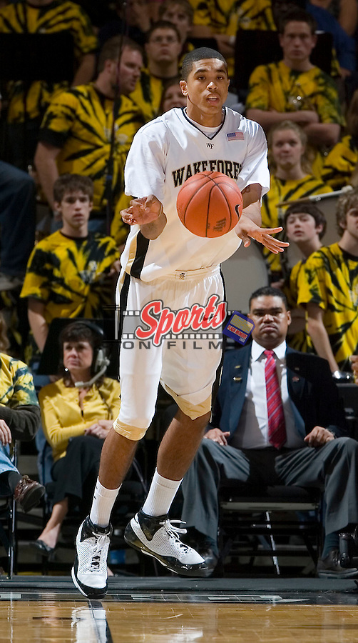 Ty Walker #40 of the Wake Forest Demon Deacons inbounds the ball as time runs down in the second half of play versus the Radford Highlanders at the LJVM Coliseum December 30, 2008 in Winston-Salem, NC. (Photo by Brian Westerholt / Sports On Film)