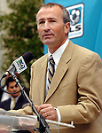 Dominic Kinnear, head coach of the new Houston MLS team, addresses the media during a news conference welcoming Major League Soccer to Houston outside Houston City Hall Friday Dec. 16,2005.